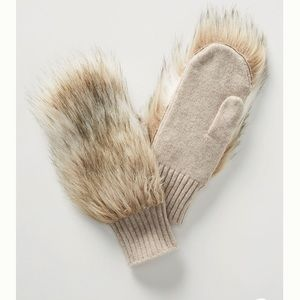 NWT Anthropologie Faux Fur Mittens